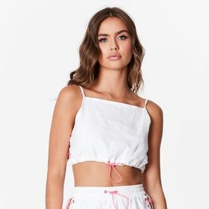 NWT LF BUNGEE LACE UP CROP TOP